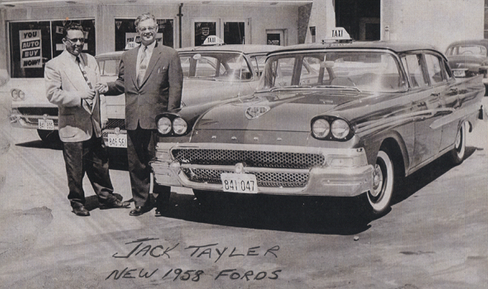 Vintage picture of taxi and two men